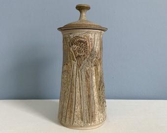 Vintage Tall Studio Art Pottery Jar with Lid - Signed Hugh Wilson