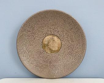 Large Vintage Tony Evans Pottery Centerpiece Platter with Glass Insert