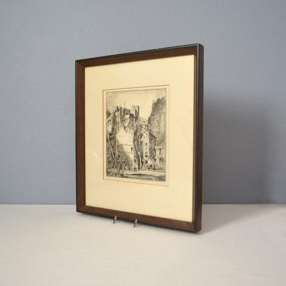 Vinage Original Earl Horter Signé et Encadrement Gravure
