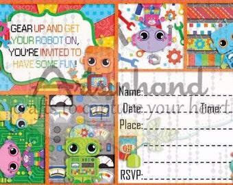 Robot v2 Birthday Invitation