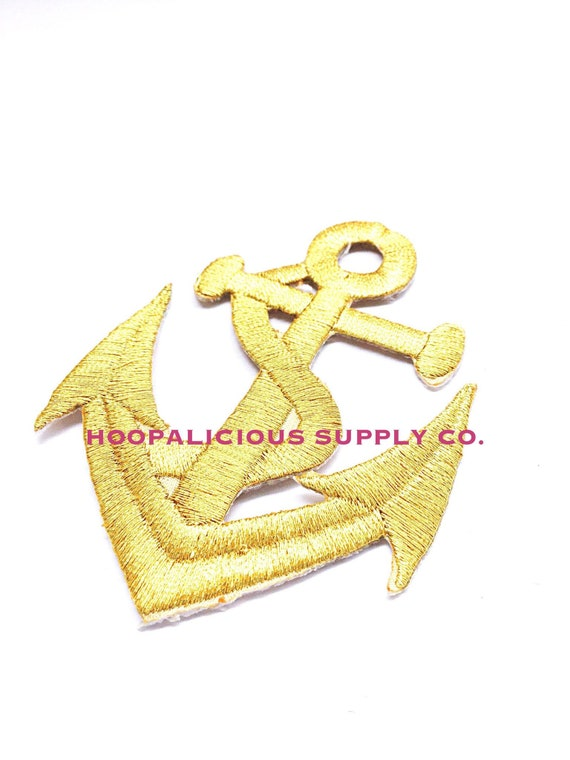 Black//Gold//Red Anchors Iron//Sew on Patches x 2