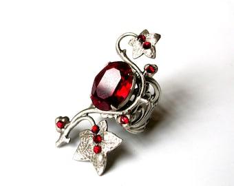Red Swarovski Ring - Statement Ring Silver Ring Gothic Ring - Floral Ring - Large Ring - Women Fantasy Ring  - Gothic Jewelry