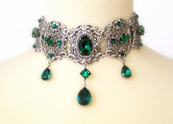 Emerald Swarovski Crystal Choker Bridal Silver Necklace  b0d790e51