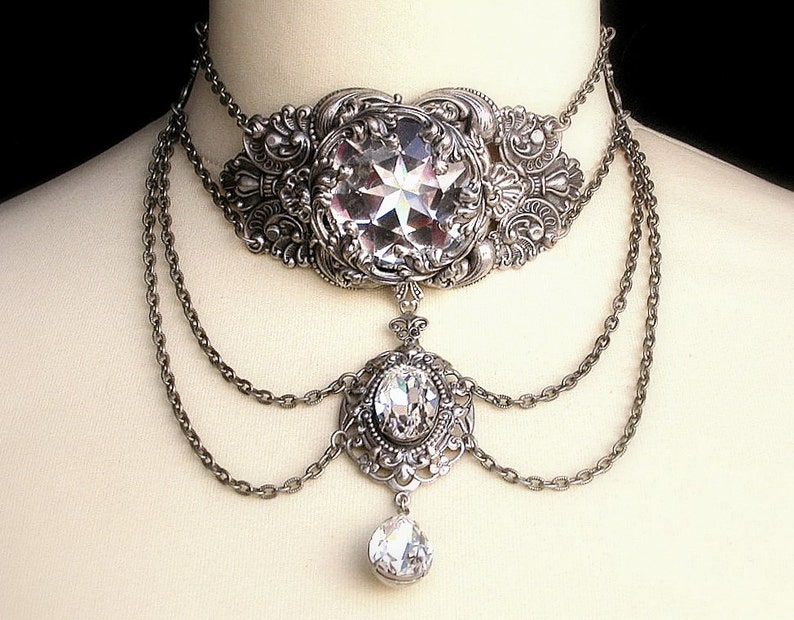 Silver Choker Swarovski Crystal Necklace Choker Clear Crystal  24fc26545