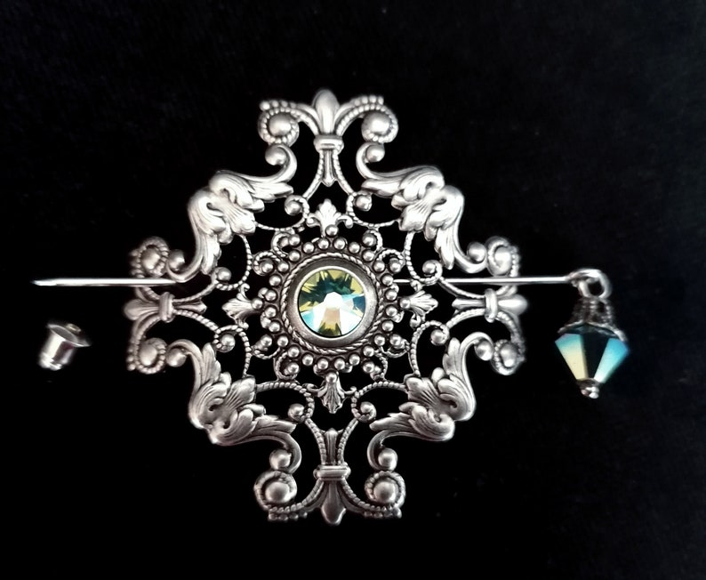 Silver Cross Stick Pin Filigree Shawl Pin Brooch Lapel Stick Pin Scarf Pin Broach Christmas Gift for Her Women Mom Fiance Victorian Jewelry