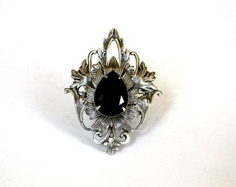 Black Gothic Jewelry Large Ring Swarovski Crystal Ring Silver Statement Ring Fantasy Ring Victorian Ring Gothic Ring Gift for Women