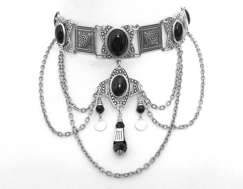 8d8cb7e8b Onyx noir RAS de cou gothique RAS de cou argent noir gothique ethnique  Tribal Collier Collier Tour de cou médiéval collier mariage noir bijoux
