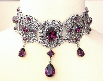 Purple Gothic Choker Amethyst Swarovski Crystal Choker Victorian Choker Bridal Necklace Gothic Jewelry Wedding Jewelry Gift for Woman