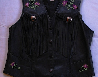 Beaded Leather Vest Woman's Size 12 - Black made by Park V