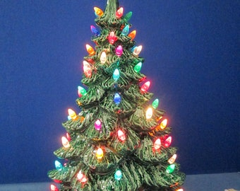 large 19 lighted ceramic scioto christmas tree newly made casted from vintage molds