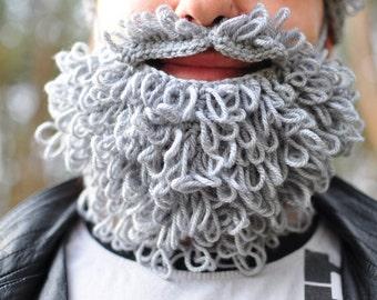 Lumbersexual crochet beard and moustache, grey, crochet, autumn fall winter accessory for man, gift for teen, boy