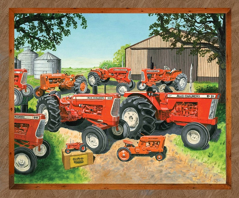 Allis Chalmers Tractor Fabric Large Panel Brown image 0