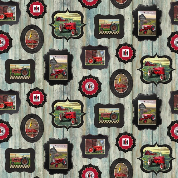 Hometown Life Fabric Farmall Tractor Toss on Blue Print Concepts YARD