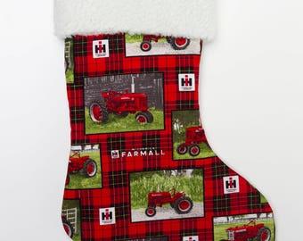 Farmall Tractor and Logo Christmas Stocking, plaid