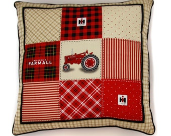 Farmall Tractor Throw Pillow with IH Logo Plaid Backing