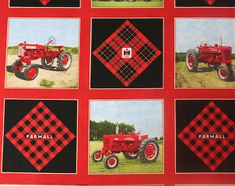 Farmall IH Tractor Cheater Quilt Cotton Fabric, Sold by the Yard