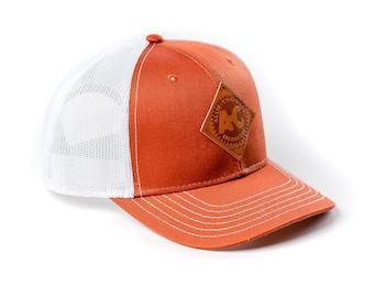 Vintage Allis Chalmers Logo Hat, Leather Emblem, Burnt Orange with Mesh Back