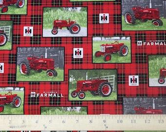 Farmall Tractor Plaid Allover Postcard Print Fabric