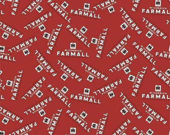 IH Farmall Tractor Red Logo Fabric, Cotton, Sold by the Yard