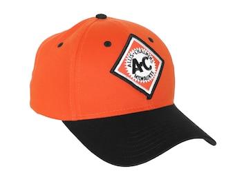 Allis Chalmers Tractor Logo hat, vintage starburst logo, orange hat with black brim