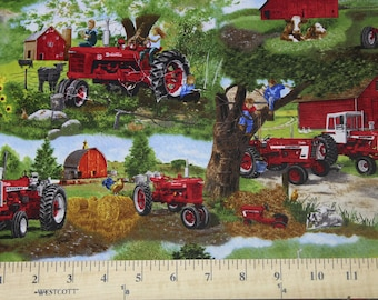 Farmall Tractor, Farm Animals and Children Scenic Fabric, Sold by the Yard