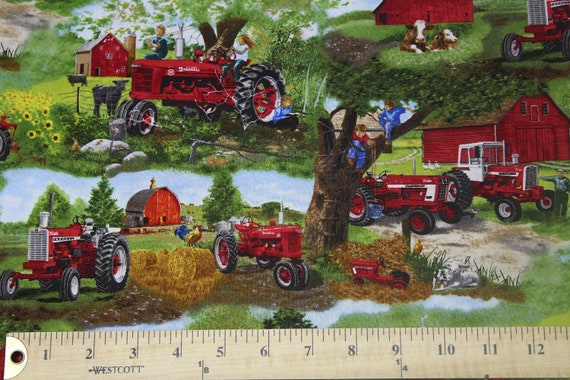 Farmall Tractor Scenic in The Field and at The Barn Cotton Fabric