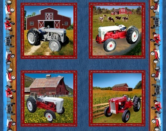 Ford Tractor Fabric, pillow panels with 8N, Jubilee: BLUE