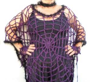 2e1ca9c83c4dc Brown Spider Web Poncho Halloween Costume for Women Girls OOAK   Etsy