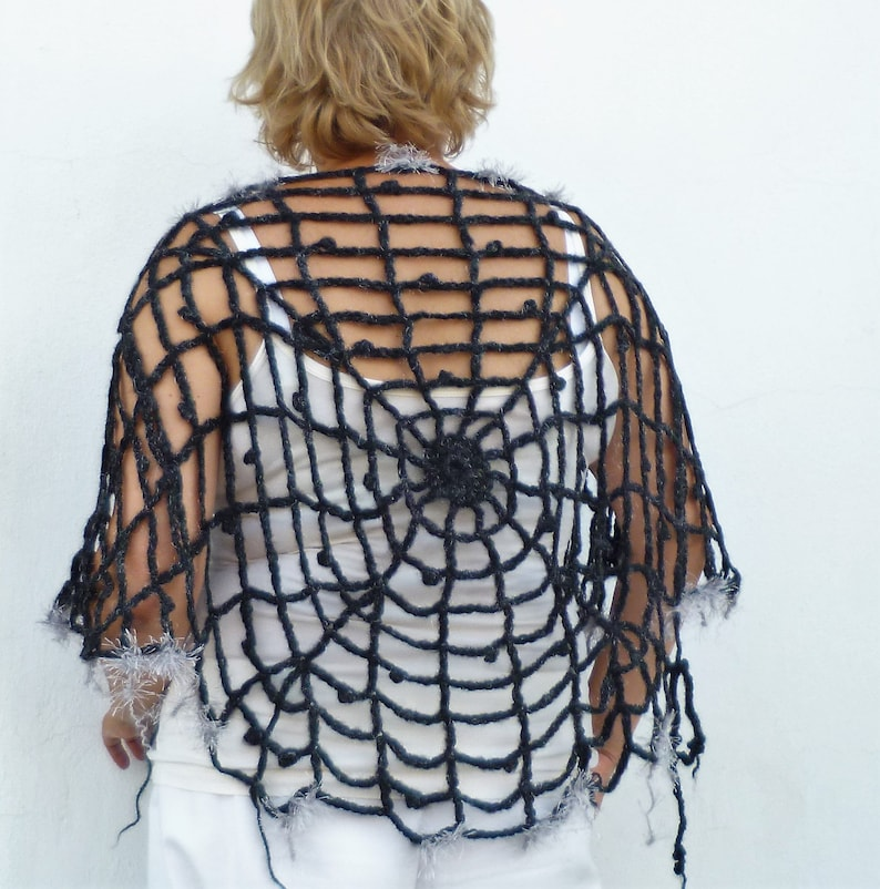 114b02adecd33 Halloween Outfit OOAK Halloween Costume Women Girls Poncho & Mittens Size  XS - M Spiderweb Poncho One Of A Kind Halloween Clothing