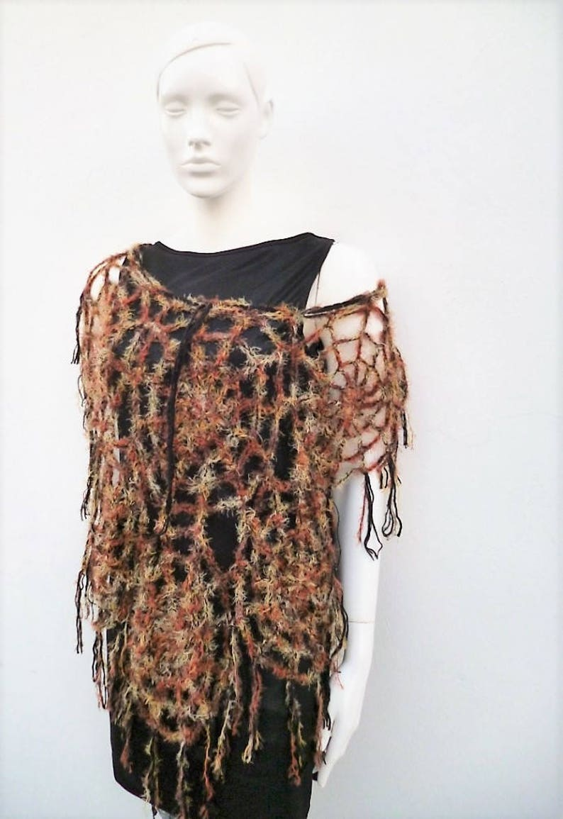 91e145c11e69a Goth Halloween Clothing Brown Spider Web Poncho Spiderweb Cape Halloween  Clothes Charlotte's Web Halloween Costume Women Size S/M/L
