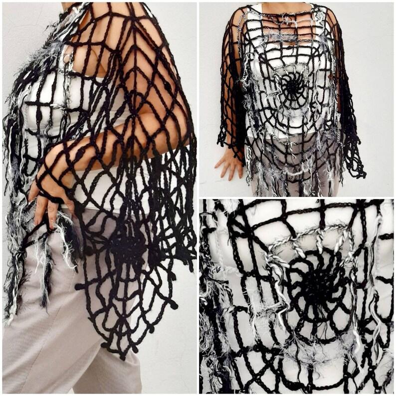 20f800e86b4ce OOAK Halloween Costume Women Poncho Black Spiderweb Halloween Clothing One  Size Halloween Fashion Charlottes Web Costume
