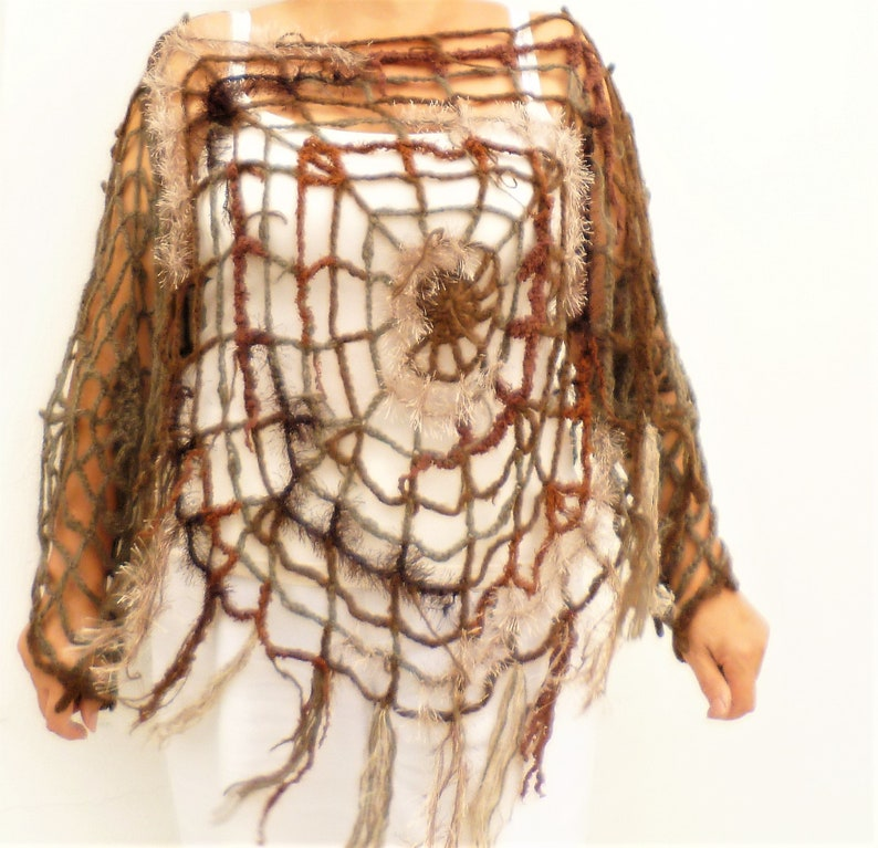 e847c6add5cae Halloween Costume Women, Girls One Of A Kind Brown Spider Web Poncho Size  S-L Halloween Fashion Clothing Charlotte's Web Costume