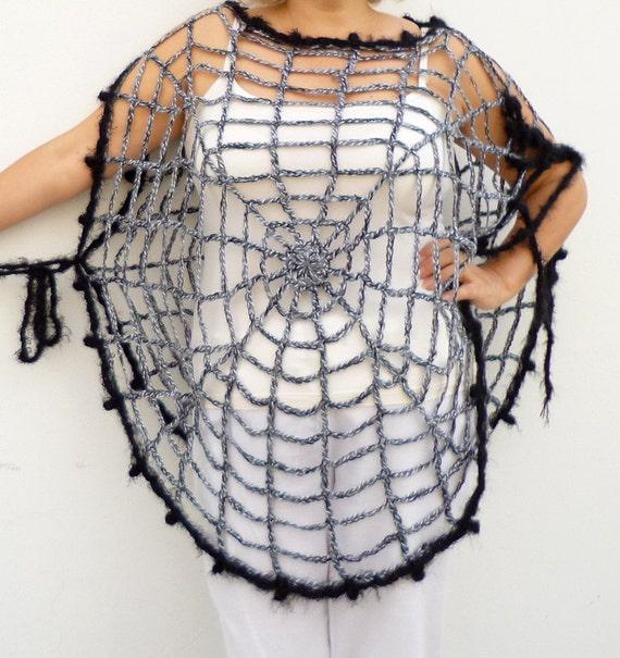 Damen Grau Poncho Cape Spinnennetz Kleidung Eine Größe Häkeln Etsy