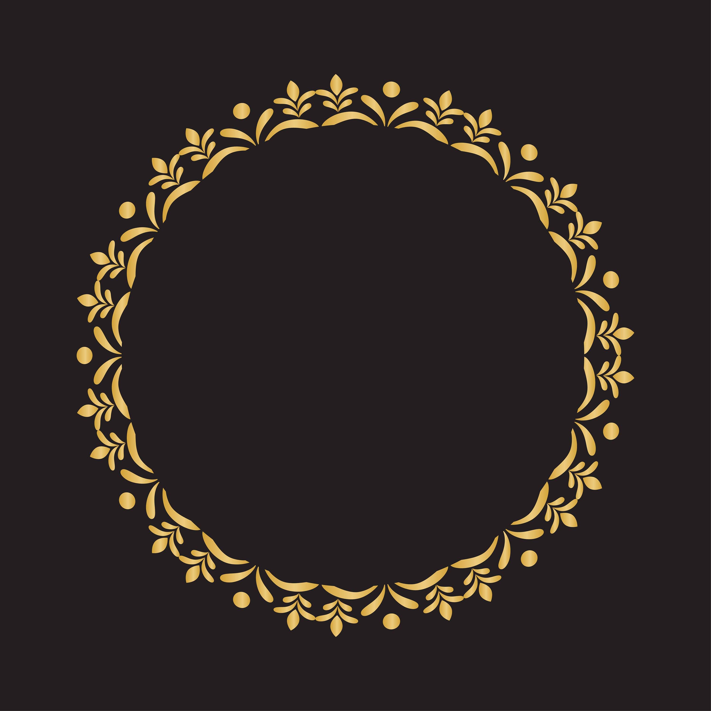 Mano Draawn marco marco marco oro de corona guirnalda de dibujado a ...
