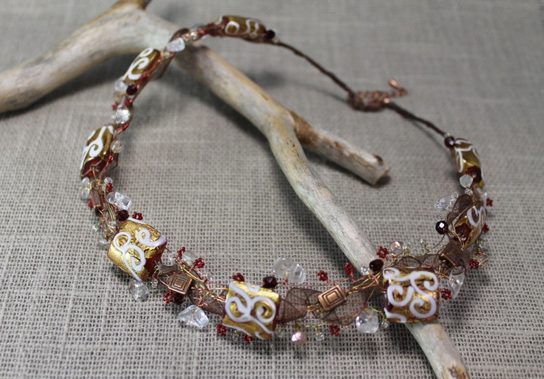 delicate wirework Necklace copper,gifts to her white twists red and golden one of a kind
