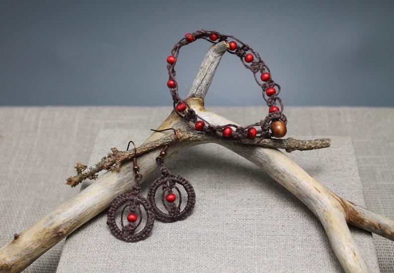 boho dangle earrings Red Berries boho wooden beads macrame gifts to her