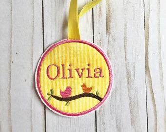 birds diaper bag tag/ luggage tag/ bird back pack name tag/ embroidered birds/ free personalization/ applique