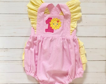 b4979b29a you are my sunshine 1st birthday girls pink and yellow ruffle shoulder  ruffle bottom sunsuit romper / toddler baby girls / spring summer