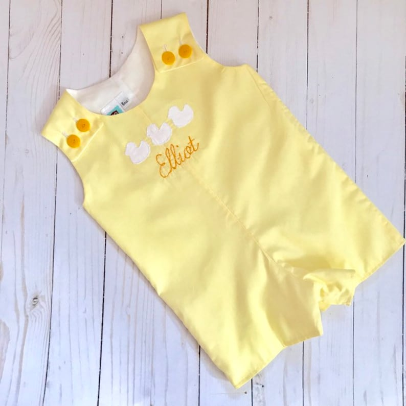 yellow duck jon jon vintage style duck sunsuit yellow duckling personalized romper