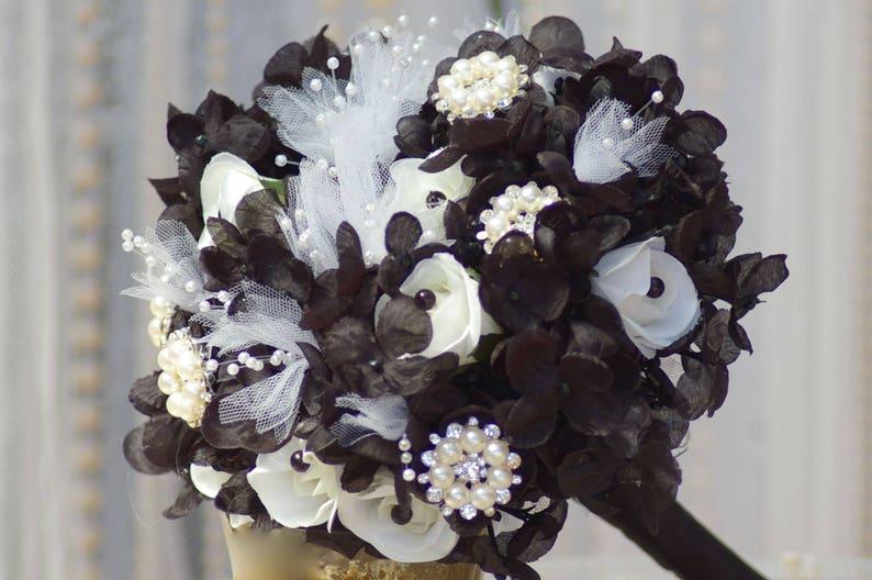 Brooch Wedding Rose Bouquet Goth Steampunk  Black and White Gatsby