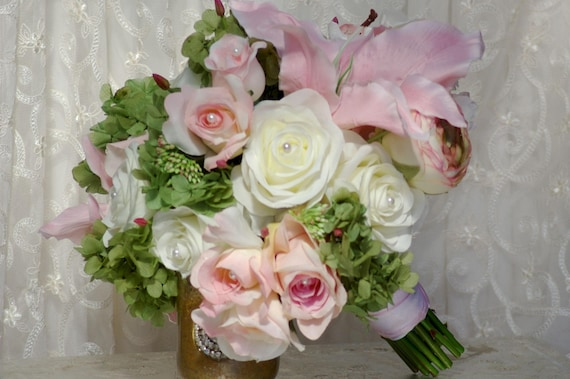 Sale Pink Wedding Bouquet Rose Lily Ivory White With Etsy