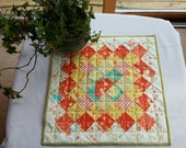 SPRING SUMMER QUILTED table runner wall hanging Reversible Watermellon, Yellow, White Green Kitchen Porch Patio Sunroom Mother's Day Girls