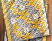 QUILTED PLACEMATS KITCHEN decor Summer Spring table runner Yellow White Gray hand made Flowers