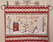 QUILTED CHRISTMAS table runner or wall hanging MERRY and Bright a Holiday banners with well wishes Snowmen snow covered evergreens ornaments
