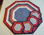 QUILTED AMERICANA PATRIOTIC Starts stripes Octagon table runner for sale with 4 costers candle mat Patriotic Home Decor' Sold as a set.