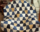 QUILT for sale THROW LAP size homemade blanket Indigo Crossing Minick and Simpson Shades of Blue White Cream Carmel twin bed coverlet
