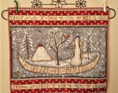 QUILTED CHRISTMAS table runner or wall hanging PEACE on Earth and a Holiday banners with well wishes. Snowmen, snow covered evergreens.