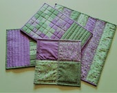 QUILTED KITCHEN SET of 4. 1 large and 1 small hot pad, 2 Mug Rugs, Easter, Spring, Mother's Day, Summer, Kitchen Porch Sunroom Patio Decor'