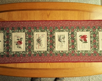 QUILTED CHRISTMAS CARDS Old FashionTable Runner Christmas Decor Wall Hanging Holiday decor Red Green Beige holiday fabric prints