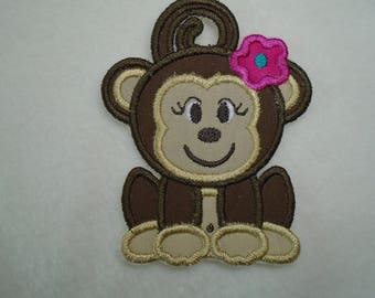 Iron on or sew on applique or patch of  a Cute Monkey with Flower